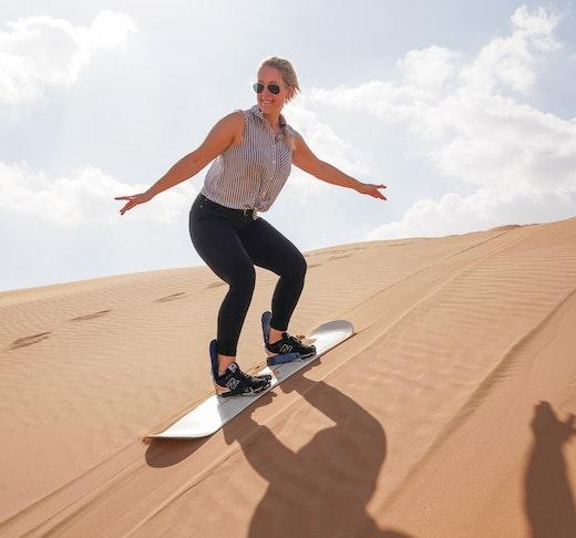Morning Desert Safari Dubai: Dune Bashing, Sand Boarding, Camel Ride with Brunch Ticket